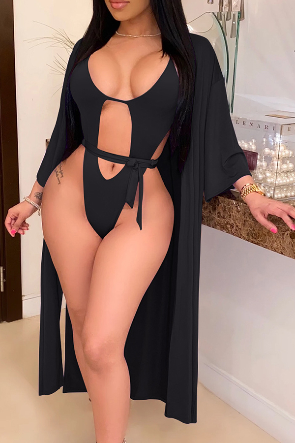 Lovely Cut-Out Black One-piece Swimsuit(With Cover-Up