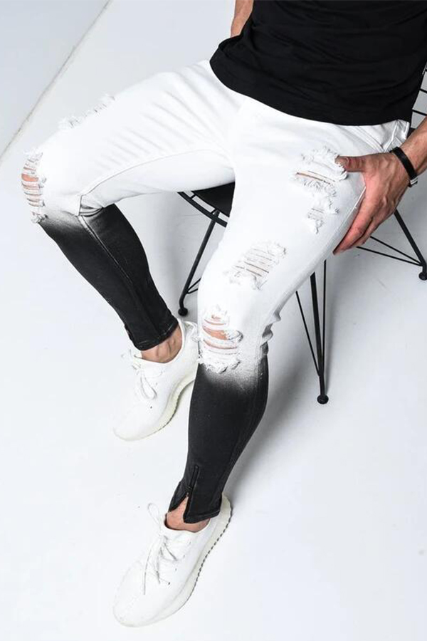 Lovely Trendy Gradual Change White Jeans