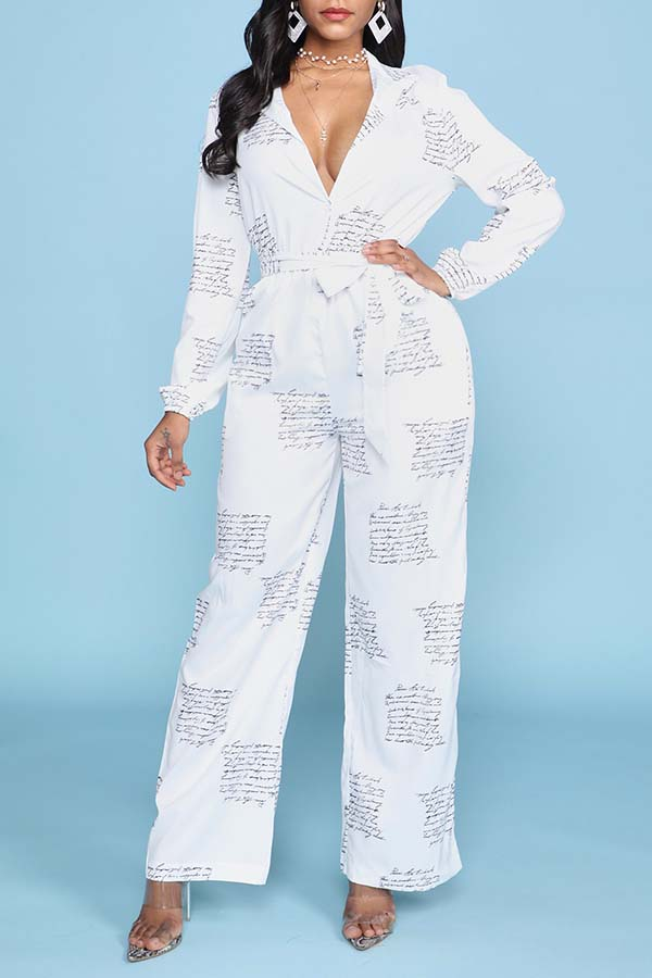 Lovely Trendy Print White One-piece Jumpsuit