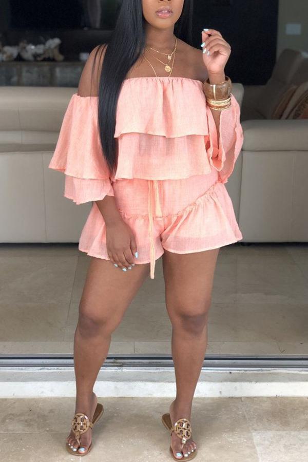 LW Sweet Flounce Design Pink Two-piece Shorts Set