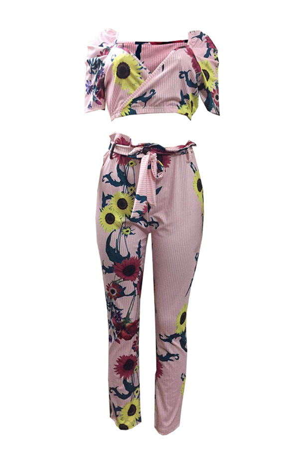 Lovely Trendy Print Multicolor Two-piece Pants Set