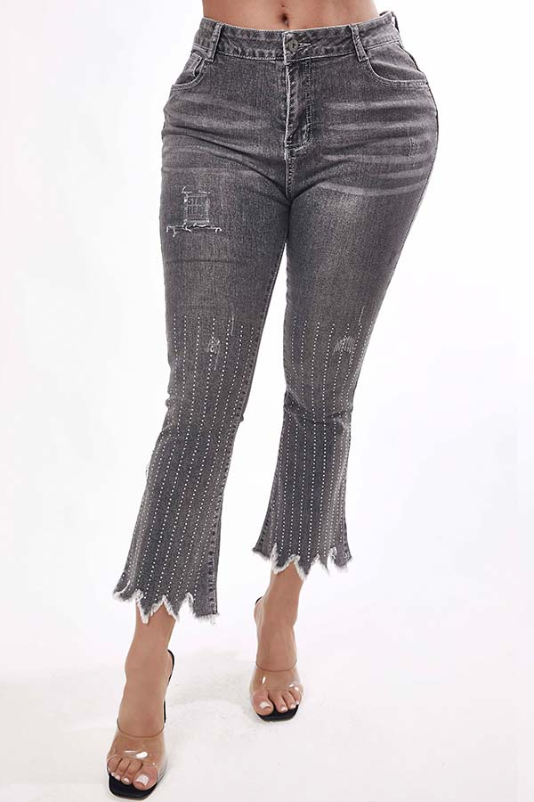Lovely Trendy Asymmetrical Grey Jeans