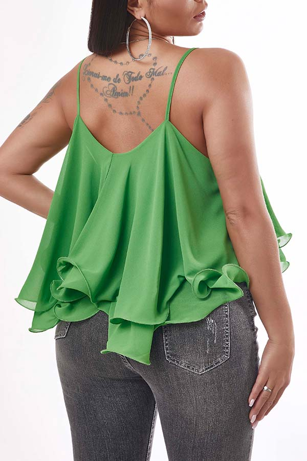 Lovely Casual Flounce Design Green Camisole