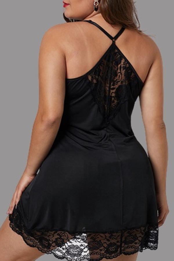 Lovely Sexy Lace Hem Black Plus Size Babydolls