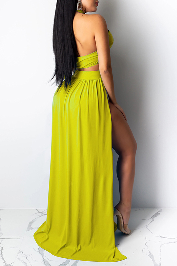 Lovely Cut-Out Yellow Two-piece Swimsuit(Three-piece)