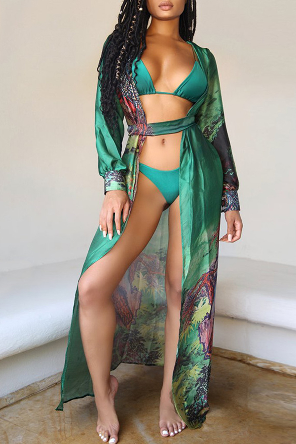Lovely Print Green Two-piece Swimsuit(With Cover-U