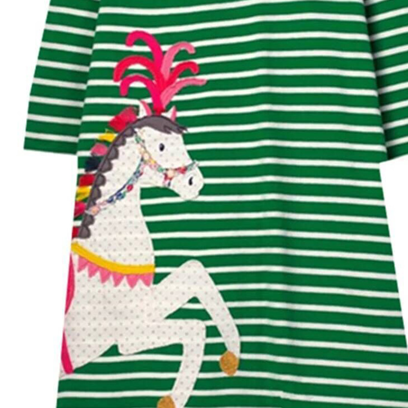 Lovely Sweet Striped Green Girl Knee Length Dress