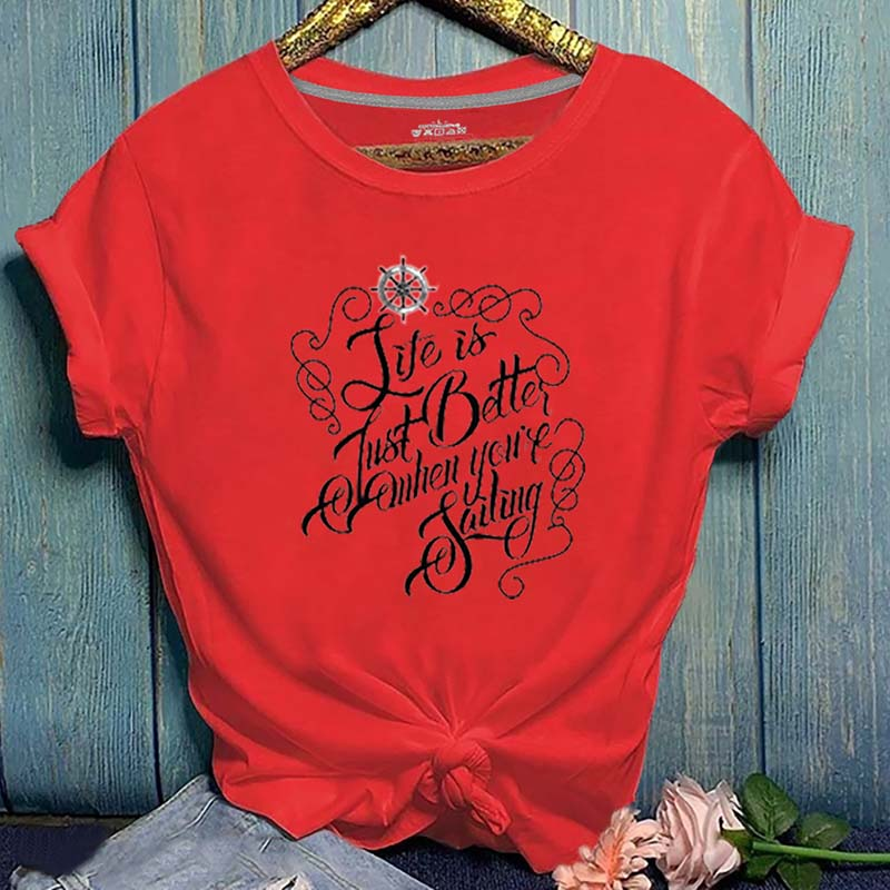 Lovely Casual O Neck Letter Print Red T-shirt