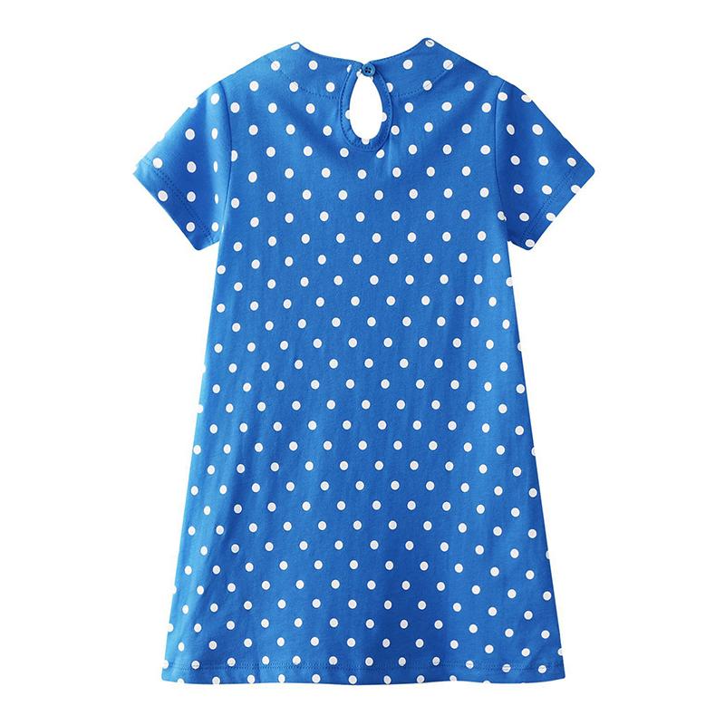 Lovely Casual Cartoon Print Blue Girl Knee Length Dress
