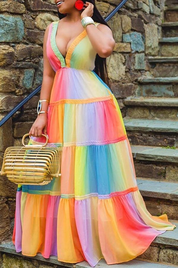 Lovely Trendy Deep V Neck Patchwork Multicolor Maxi Dress(Batch Print)