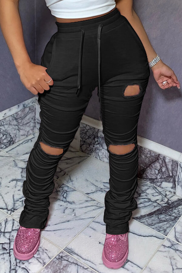 Lovely Leisure Hollow-out Black Pants