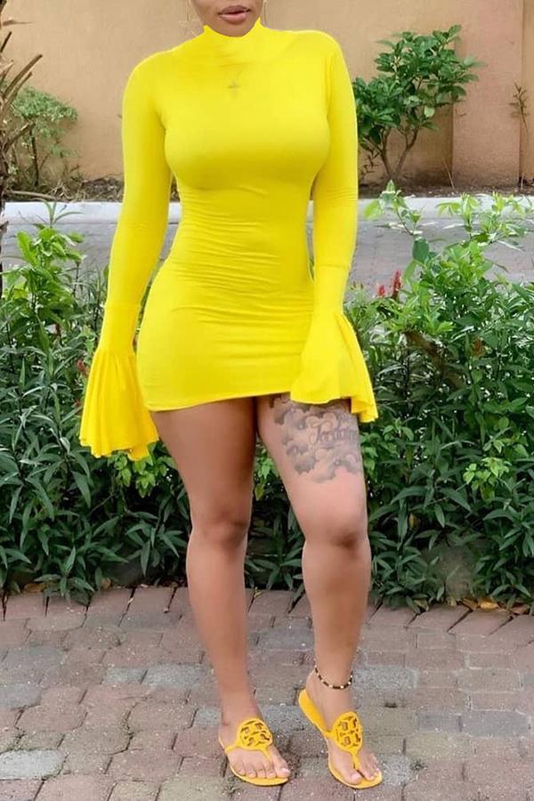 Lovely Trendy Tassel Design Yellow Mini Dress