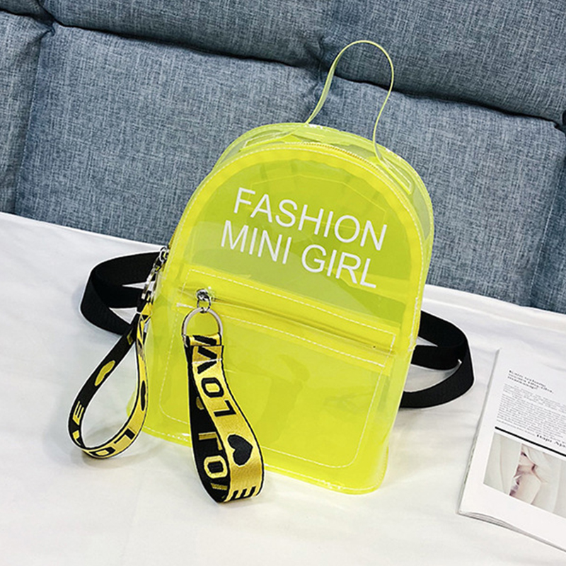 Lovely Trendy See-through Yellow Backpack