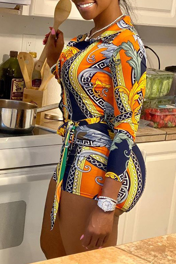 Lovely Leisure Print Multicolor Two-piece Shorts Set