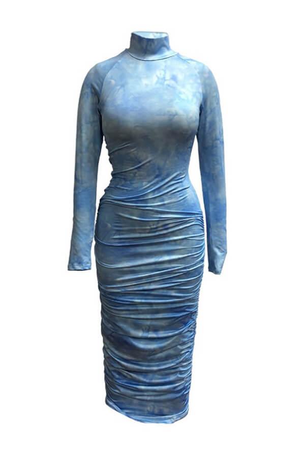 Lovely Trendy Print Blue Ankle Length Dress