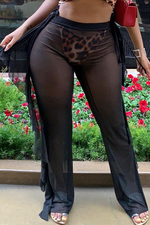 Lovely Flounce Design Black Cover-up(Pants)