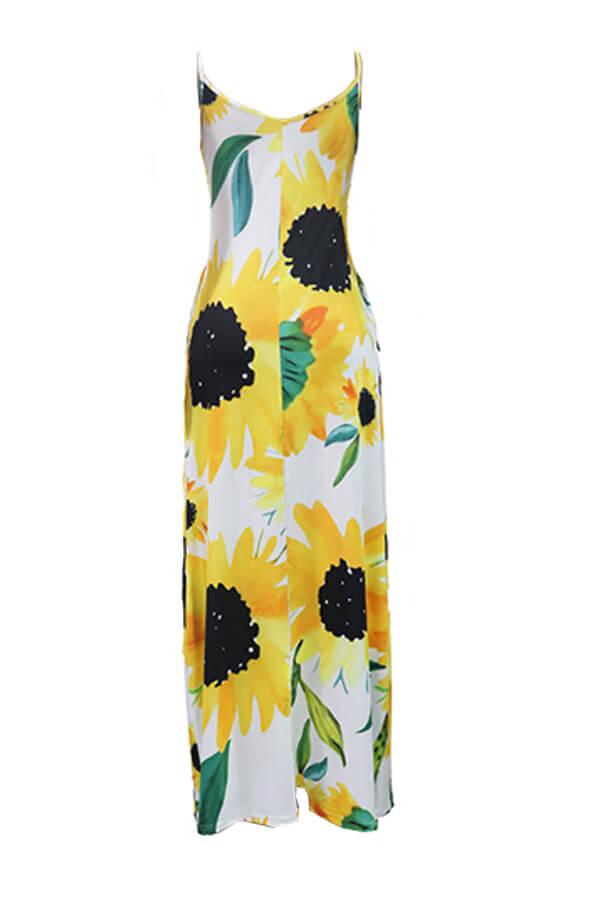 Lovely Bohemian V Neck Sunflower Print Yellow Maxi Dress