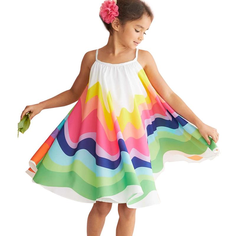 Girls Dress Lovely Trendy Rainbow Striped White Girl Knee Length Dress фото