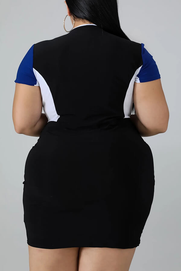 Lovely Trendy Pocket Patched Blue Mini Plus Size Dress