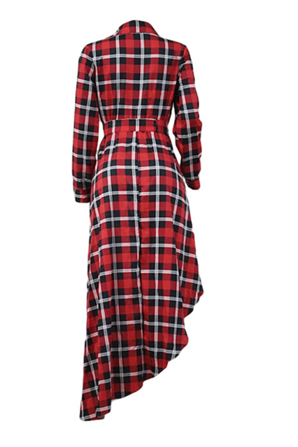 Lovely Trendy Grid Red Ankle Length Plus Size Dress