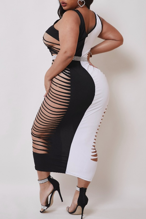 Lovely Sexy Patchwork Hollow-out Black And White Mid Calf Dress