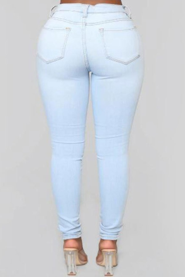 Lovely Stylish Hollow-out Baby Blue Plus Size Jeans