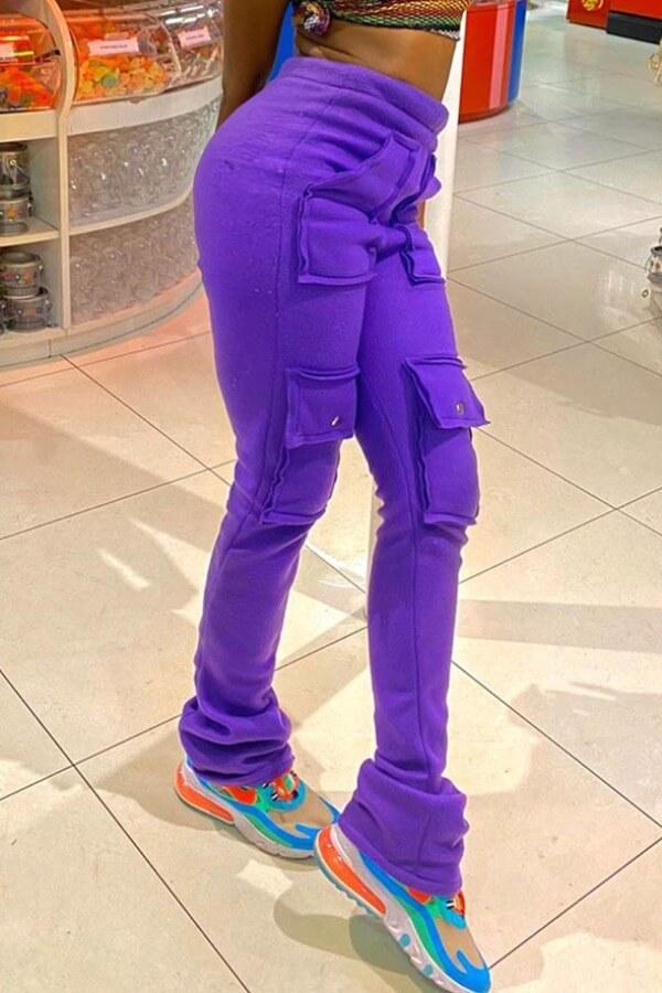 Lovely Stylish Pocket Patched Purple Pants