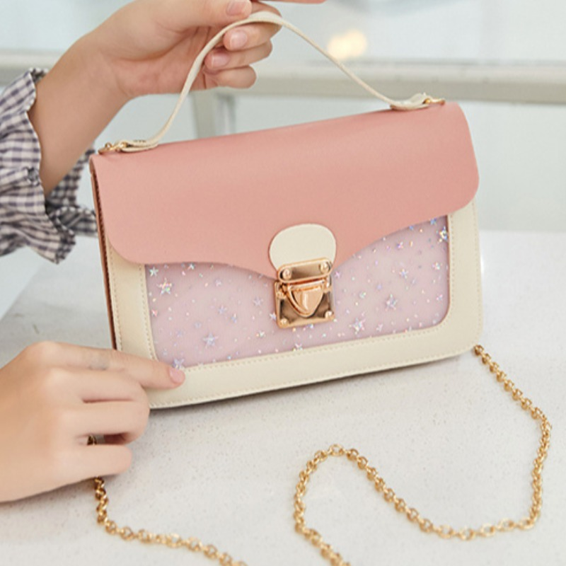 Lovely Trendy Patchwork Pink Crossbody Bag