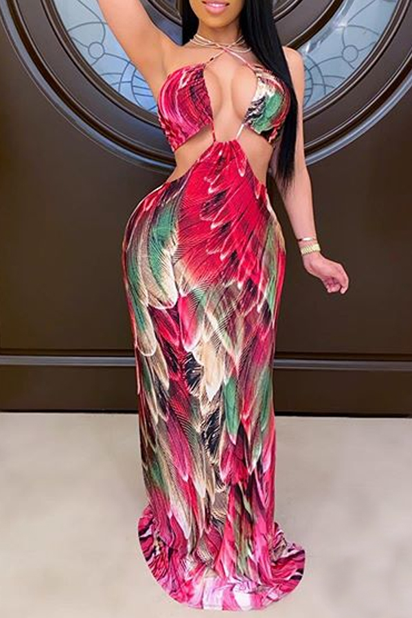 Lovely Sexy Backless Red Maxi Dress