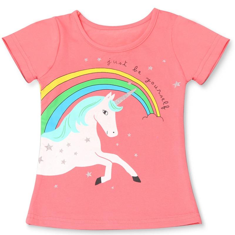 Lovely Leisure O Neck Cartoon Print Red Girl T-shirt