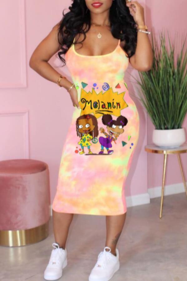 Lovely Casual Cartoon Print Pink Mid Calf Dress