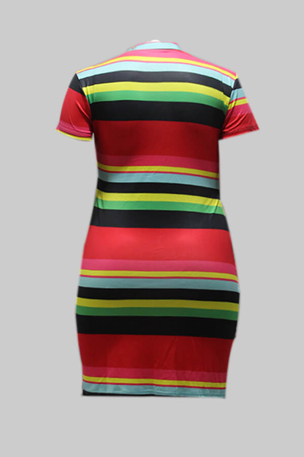 Lovely Leisure O Neck Striped Red Mini Dress