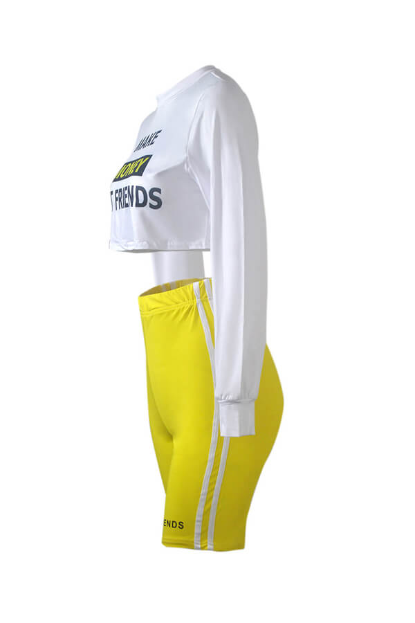 Lovely Sportswear Letter White Plus Size Two-piece Shorts Set
