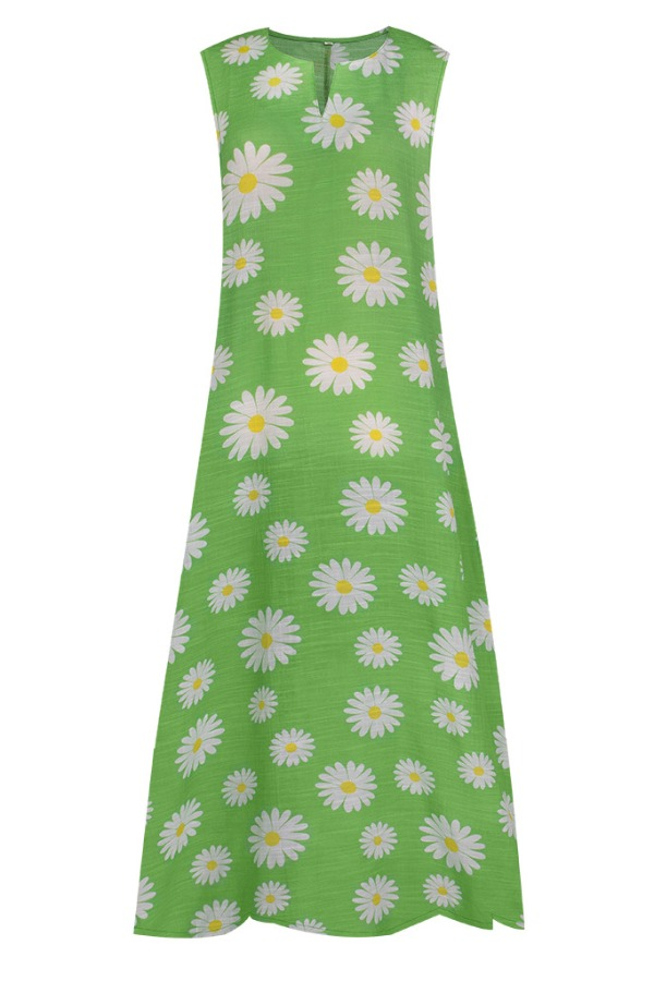 Lovely Casual Daisy Print Green Maxi Plus Size Dress