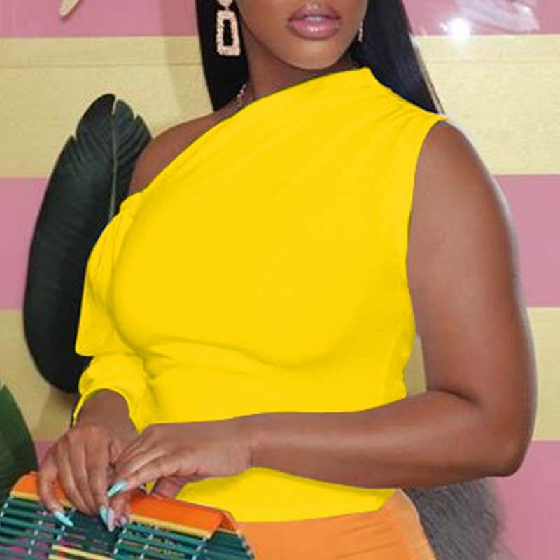 Lovely Trendy One Shoulder Yellow Blouse