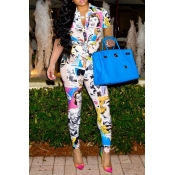 Lovely Casual Cartoon Print Multicolor Two-piece P