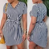 Lovely Trendy V Neck Striped Mini Dress