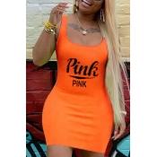 Lovely Leisure Letter Print Orange Mini Dress