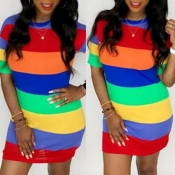 Lovely Casual Striped Multicolor Mini Dress