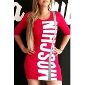 Lovely Trendy Letter Print Red Mini Dress