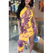 Lovely Casual Asymmetrical Yellow Mid Calf Dress