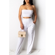 Lovely Trendy Dew Shoulder White Two-piece Pants S