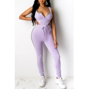 Lovely Sexy Lace-up Purple Two-piece Pants Set