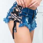Lovely Trendy Bandage Design Blue Shorts