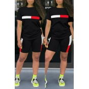 Lovely Leisure Patchwork Black Two-piece Shorts Se