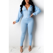 Lovely Trendy Zipper Design Blue Two-piece Pants Set
