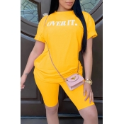 Lovely Casual Letter Print Yellow Two-piece Shorts