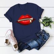 Lovely Casual O Neck Lip Print Navy Blue T-shirt