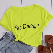 Lovely Leisure Letter Print Green T-shirt