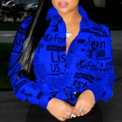 Lovely Leisure O Neck Letter Print Blue Shirt
